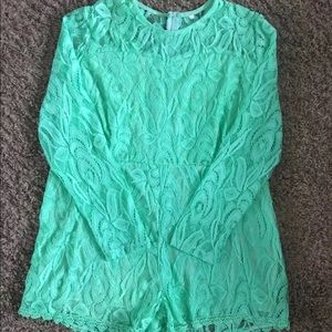 Other - Lace Romper Long Sleeve Shorts Mint Green H19P